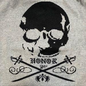EXPRESS HONOR Skull Men's Sweater Gray Large